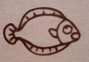 ヒラメの焼印