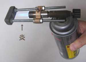 大型ガス直火式焼印使用例