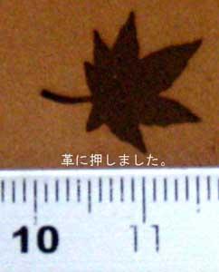 楓焼印を革へ