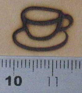 コーヒーカップの焼印を板へ